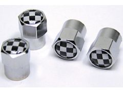 wheel valve cap set chequered