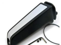Black handbrake handle with matt chrome inlay